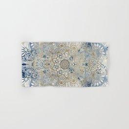 Yoga, Mandala, Blue and Gold, Wall Art Boho Hand & Bath Towel