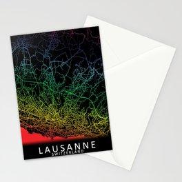 Lausanne, Switzerland, City, Map, Rainbow, Map, Art, Print Stationery Cards