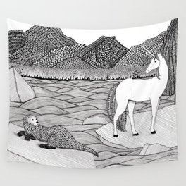 A Meeting by the Water--B&W Wall Tapestry
