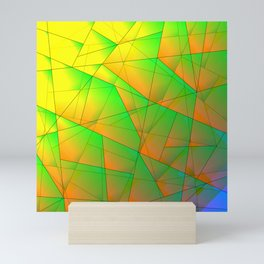 Abstract pattern of green and overlapping yellow triangles and irregularly shaped lines. Mini Art Print