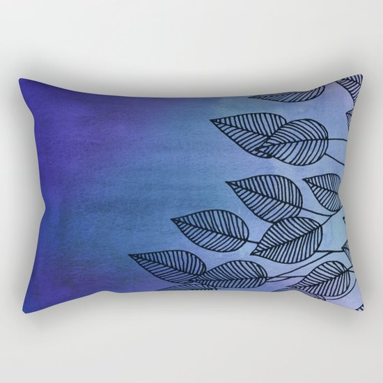 Midnight Blue Garden - watercolor & ink leaves Rectangular Pillow