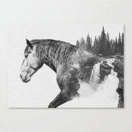 Horse | Abstract Photography | Art | Black-and-White | Animal | Double-Exposure | B&W | Fog Canvas Print