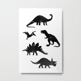 Black + White Dinosaurs Metal Print