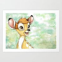 bambi Art Prints featuring Bambi by Elise Hoglund