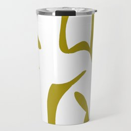 Geometric Abstract Floral Design Pattern Mustard  Travel Mug