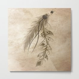 Bohemian Feather Metal Print