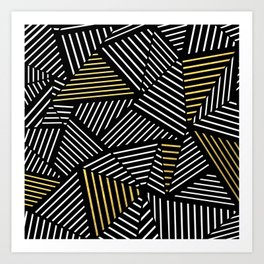 A Linear Black Gold Art Print