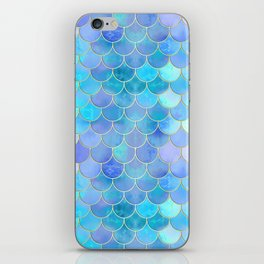Aqua Pearlescent & Gold Mermaid Scale Pattern iPhone Skin