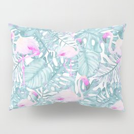 Neon pink green watercolor flamingo tropical leaves Pillow Sham