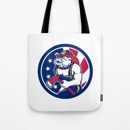 Bulldog Fireman American Flag Icon Tote Bag
