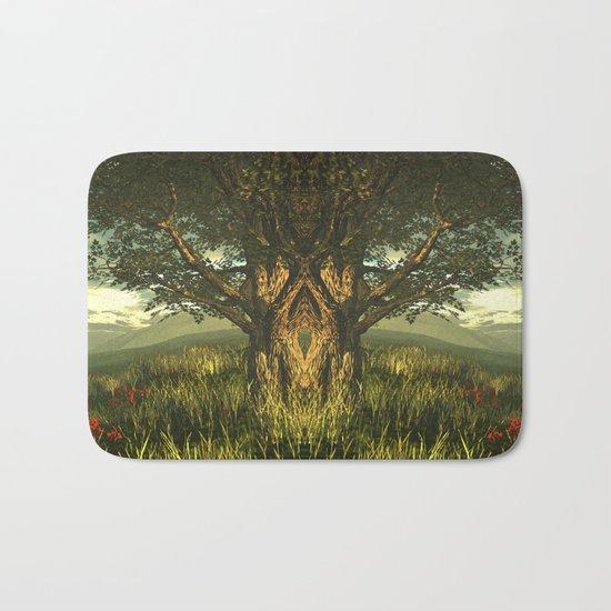 Summer tree in a poppy field Bath Mat