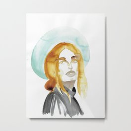 Judy with a Mint-Coloured Hat Metal Print