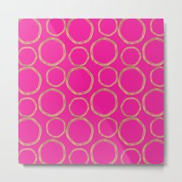 Hot Pink & Gold Circles Metal Print