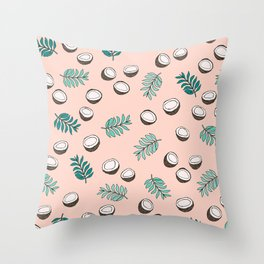 Little coconut garden summer surf palm leaves pink Throw Pillow