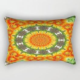 Kaleidoscopic Orange Garden Gazanias Rectangular Pillow