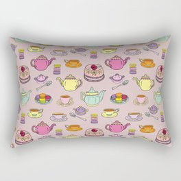 Time For Tea and Cake Illustrated Print Rectangular Pillow