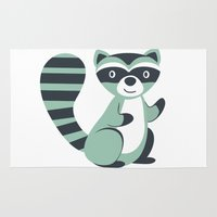 raccoon Area & Throw Rugs featuring Raccoon by olillia
