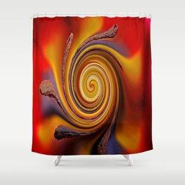 Orange Spiral Shower Curtain