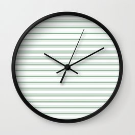 Moss Green and White Mattress Ticking Wide Striped Pattern Wall Clock