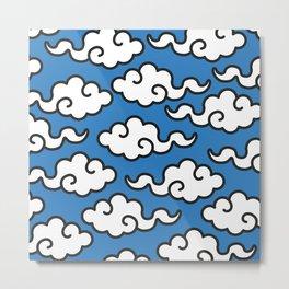 Modern Popart Summertime Clouds - retro ethnic tribal aztec 80s 90s pop-art minimal nature tropical Metal Print