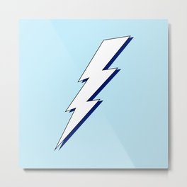 Just Me and My Shadow Lightning Bolt - Light-Blue White Blue Metal Print