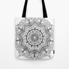 Black Flower Mandala Tote Bag