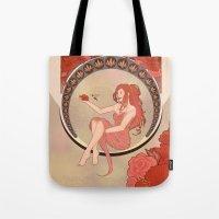 art nouveau Tote Bags featuring Art Nouveau by Takanik