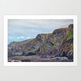 Hartland Quay Cliffs Art Print