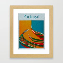 Portuguese Fishing Boats - Vintage Travel Framed Art Print