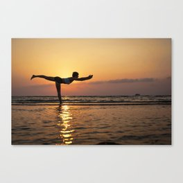 Yoga silhouette on the sea Canvas Print