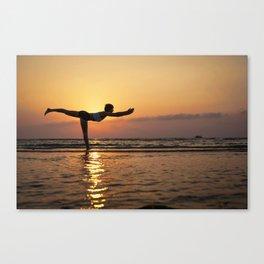 Yoga silhouette on the sea Canvas Print