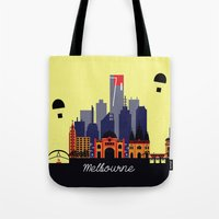 melbourne Tote Bags featuring Lovely Melbourne by Jollybird Designs
