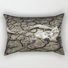 Animal Bones at Mud Cracked Ground Rectangular Pillow