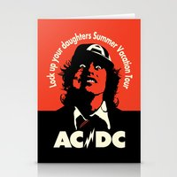 acdc Stationery Cards featuring Ac/Dc angus young by aceofspades81