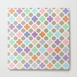 Girly Moroccan Quatroil Pattern Cute Pastel Colors Metal Print