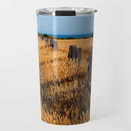 Golden Field By The Sea Travel Mug