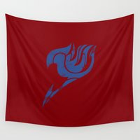 fairy tail Wall Tapestries featuring Fairy Tail Segmented Logo Erza by JoshBeck