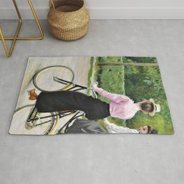 Two Young Women Making A Ride On Their Bikes A Summer Day Rug