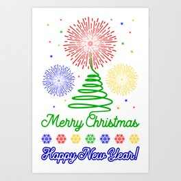 Merry Christmas colorfull pattern Art Print