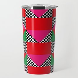 Houses with a Red Body and a Pink Roof, in a dotted synthetic grass. Travel Mug