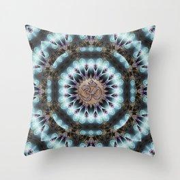 Om Shanti Fractal Geometry [ earthy aqua remix ] Throw Pillow