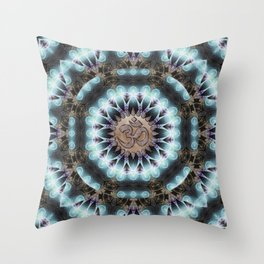 Om Shanti Fractal Geometry [ earthy aqua remix ] Throw Pillow