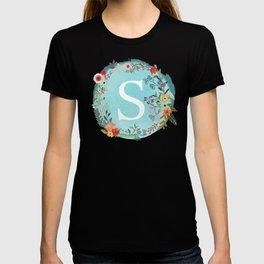 Personalized Monogram Initial Letter S Blue Watercolor Flower Wreath Artwork T-shirt