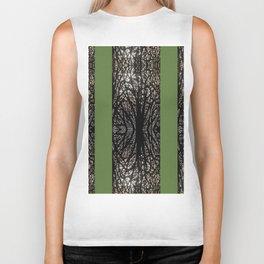 Gothic tree striped pattern green Biker Tank