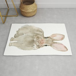 Cottontail Bunny Rabbit Watercolor Rug
