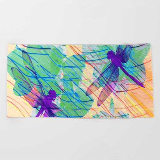Colorful Dragonflies Beach Towel