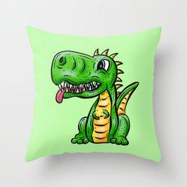 Dino Time! Little Green Dinosaur Throw Pillow