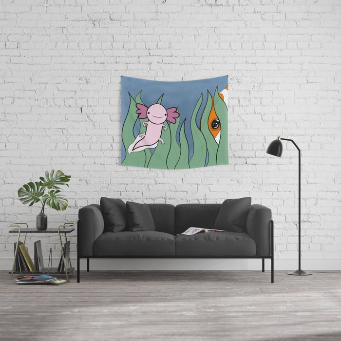 Axolotl Finds a Friend Wall Tapestry