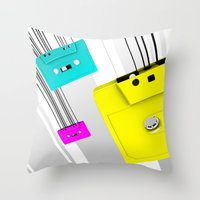 cassette Throw Pillows featuring Cassette by Delaney Digital
