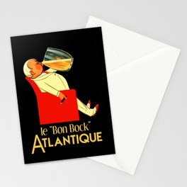 Retro French beer ad Le Bon Bock Stationery Cards